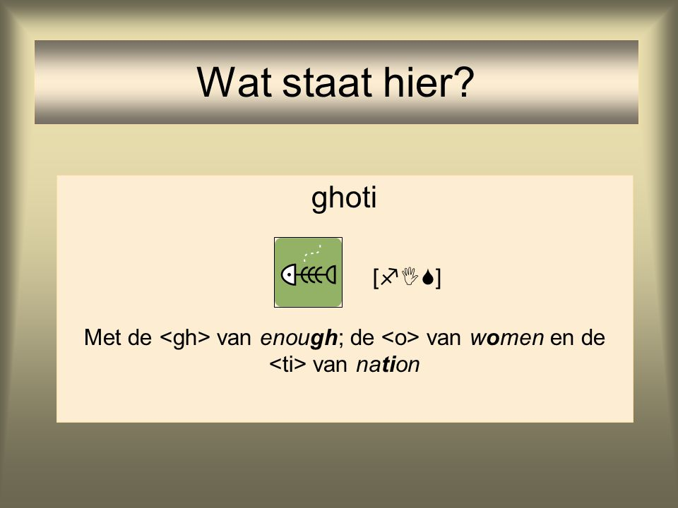 Wat staat hier ghoti Met de <gh> van enough; de <o> van women en de <ti> van nation []